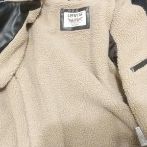 Brown leather Levis sherpa jacket